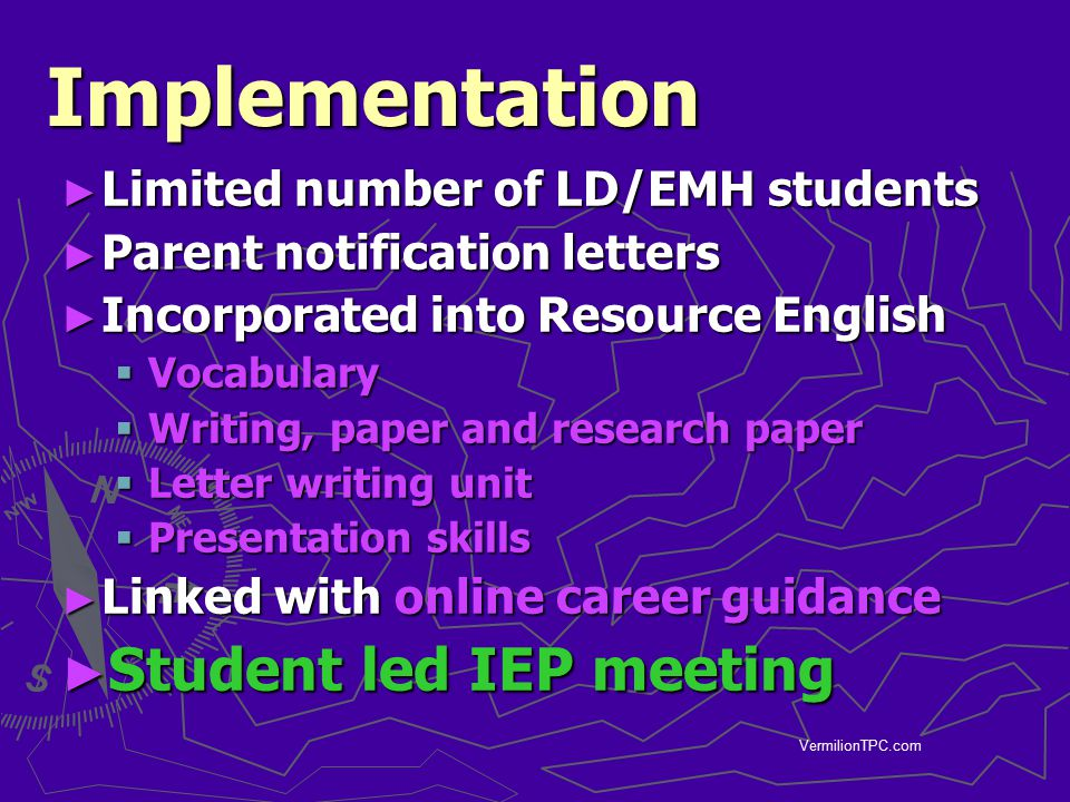 Implementation Student led IEP meeting