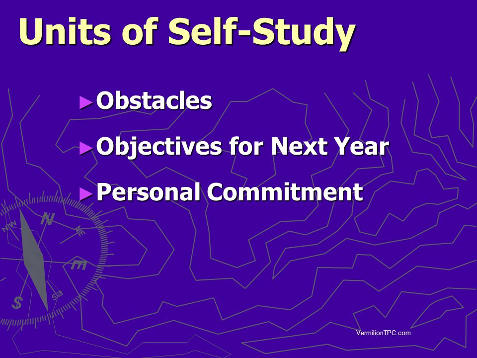 Units of Self-Study Obstacles Objectives for Next Year