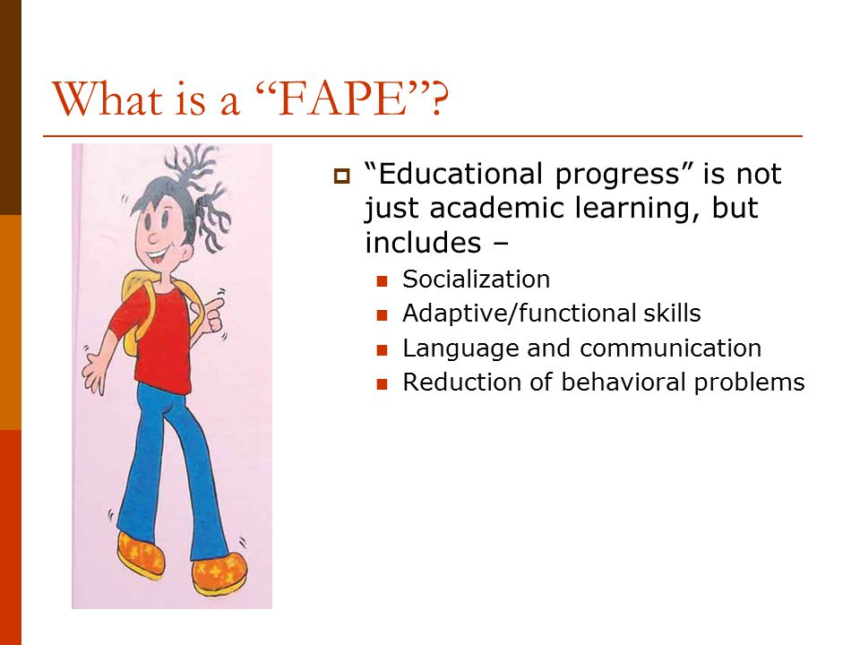 What is a FAPE Educational progress is not just academic learning, but includes – Socialization.