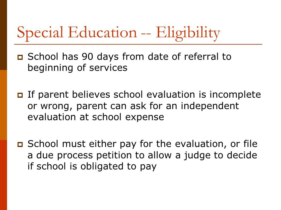 Special Education -- Eligibility
