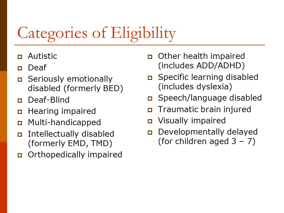 Categories of Eligibility