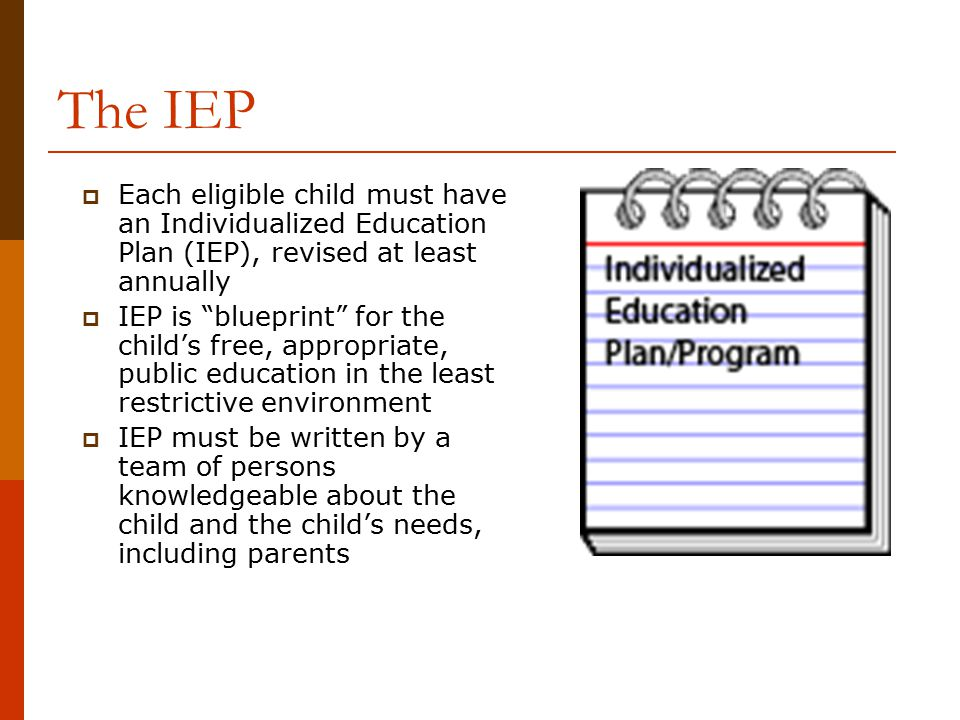 The IEP Each eligible child must have an Individualized Education Plan (IEP), revised at least annually.