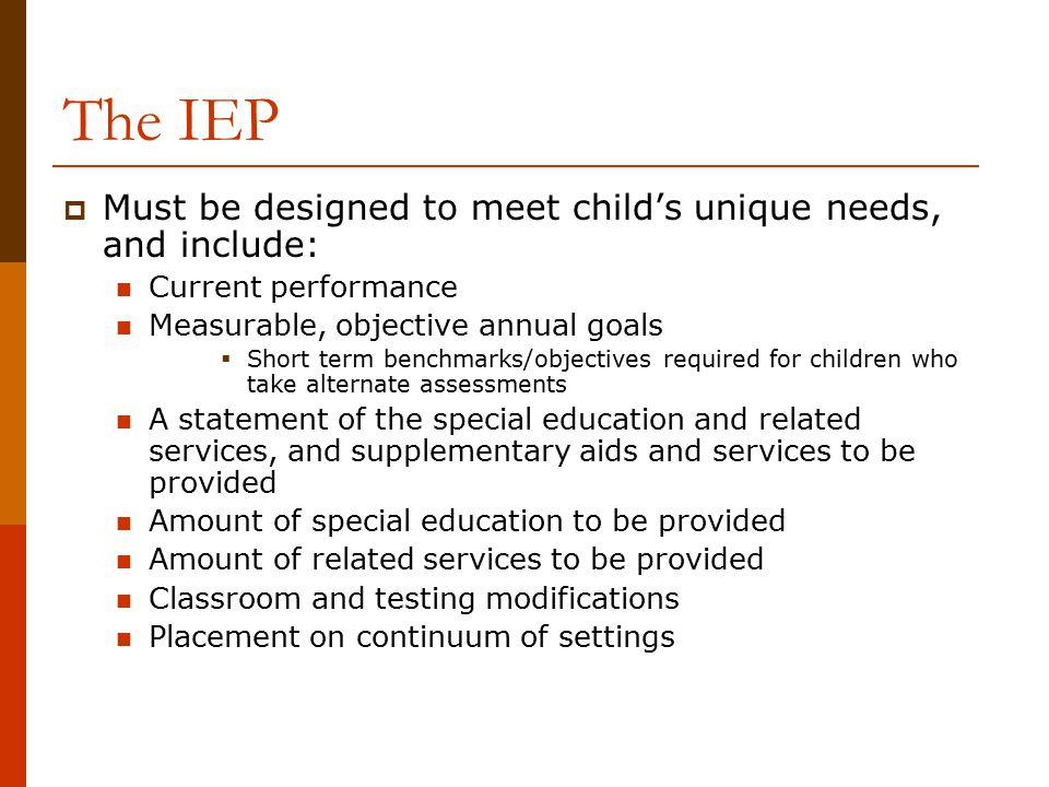 The IEP Must be designed to meet child's unique needs, and include: