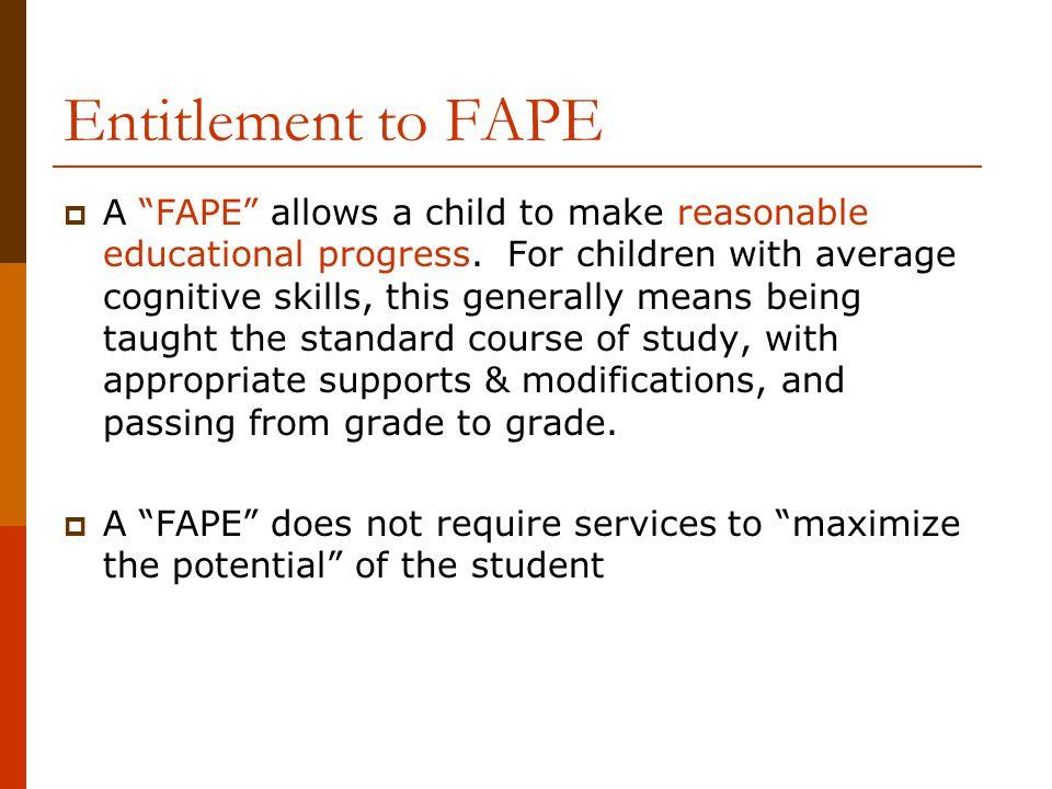 Entitlement to FAPE