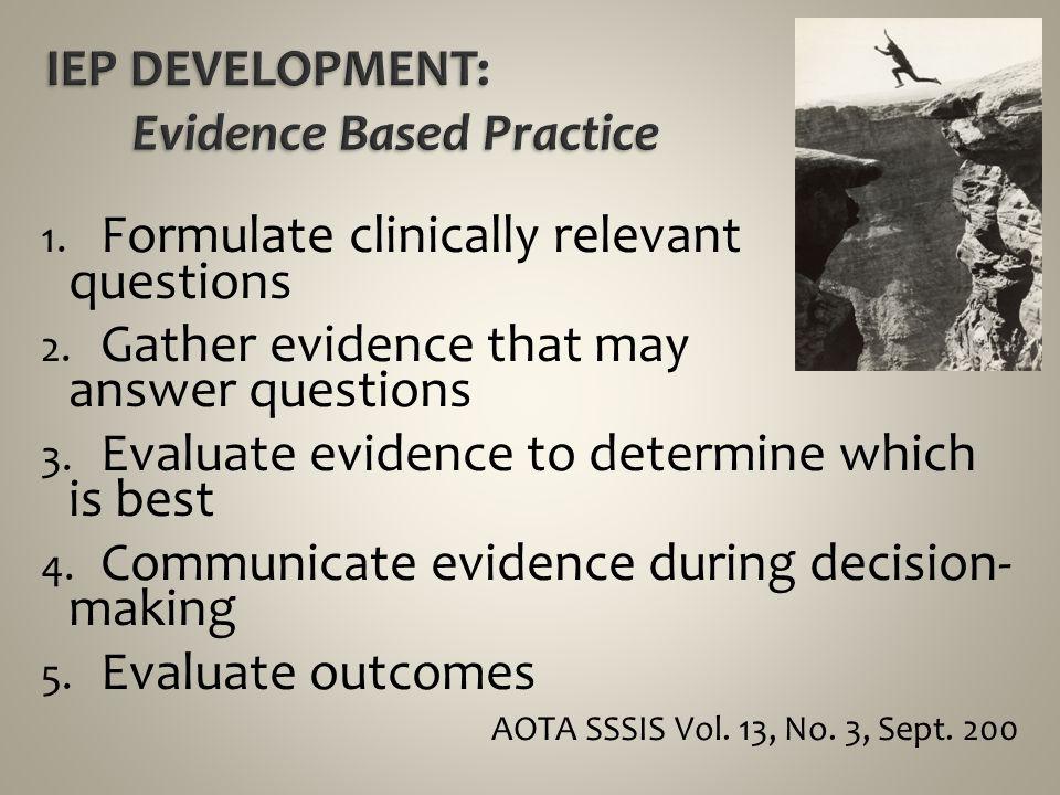 IEP DEVELOPMENT: Evidence Based Practice