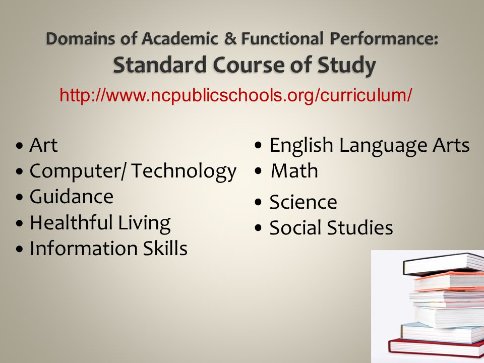 Domains of Academic & Functional Performance: Standard Course of Study