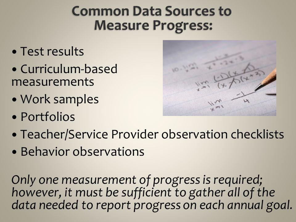 Common Data Sources to Measure Progress: