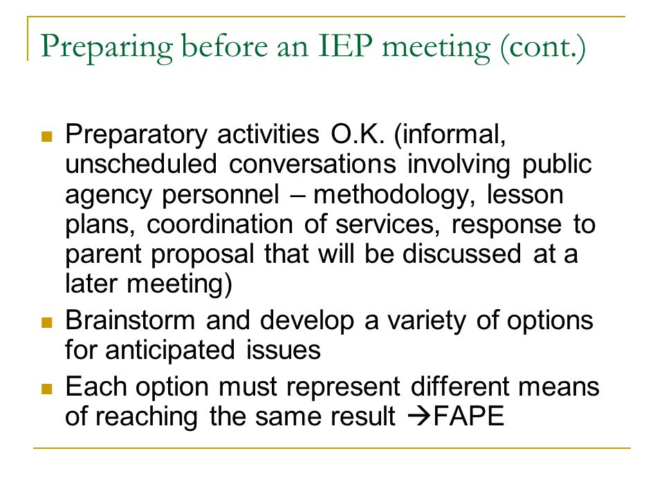 Preparing before an IEP meeting (cont.)