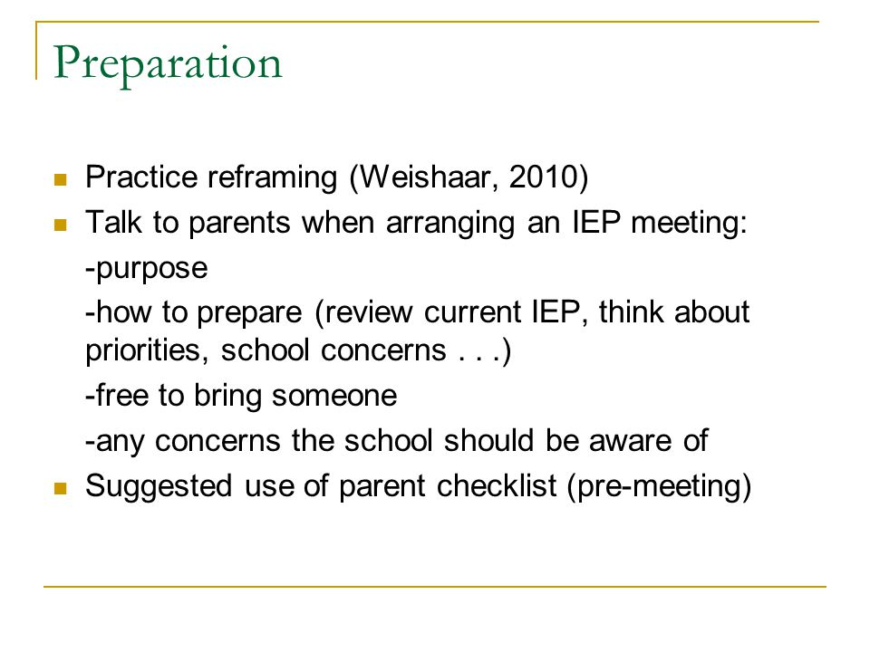 Preparation Practice reframing (Weishaar, 2010)