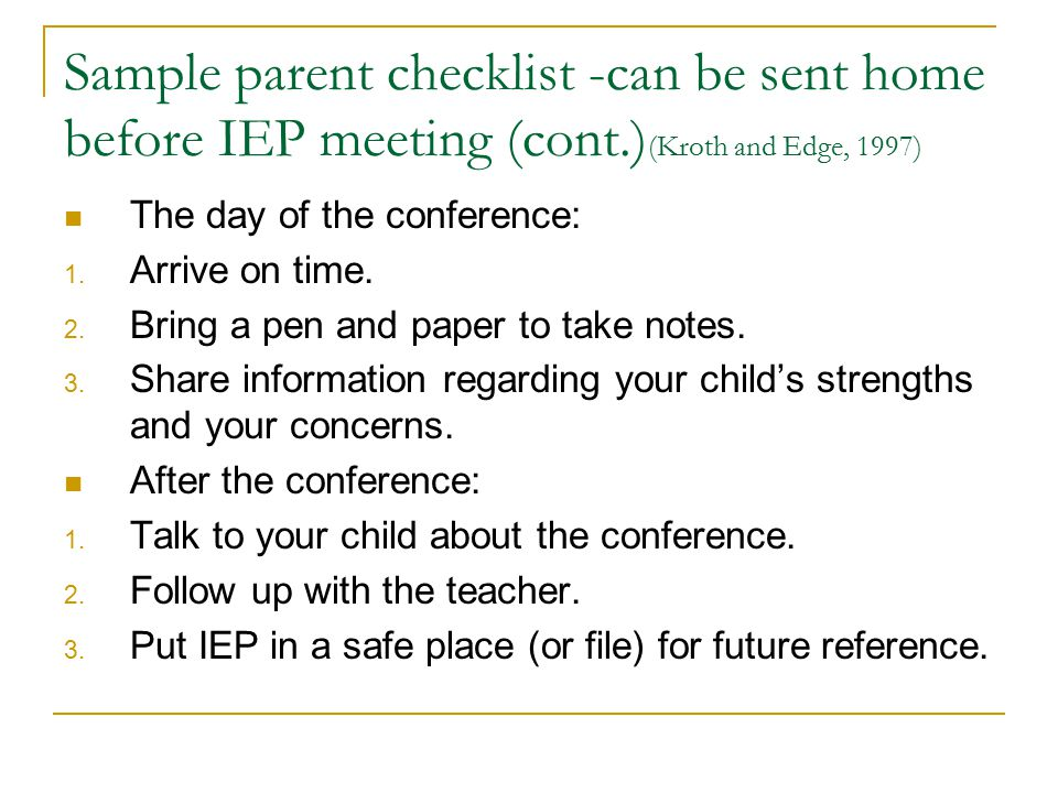 Sample parent checklist -can be sent home before IEP meeting (cont