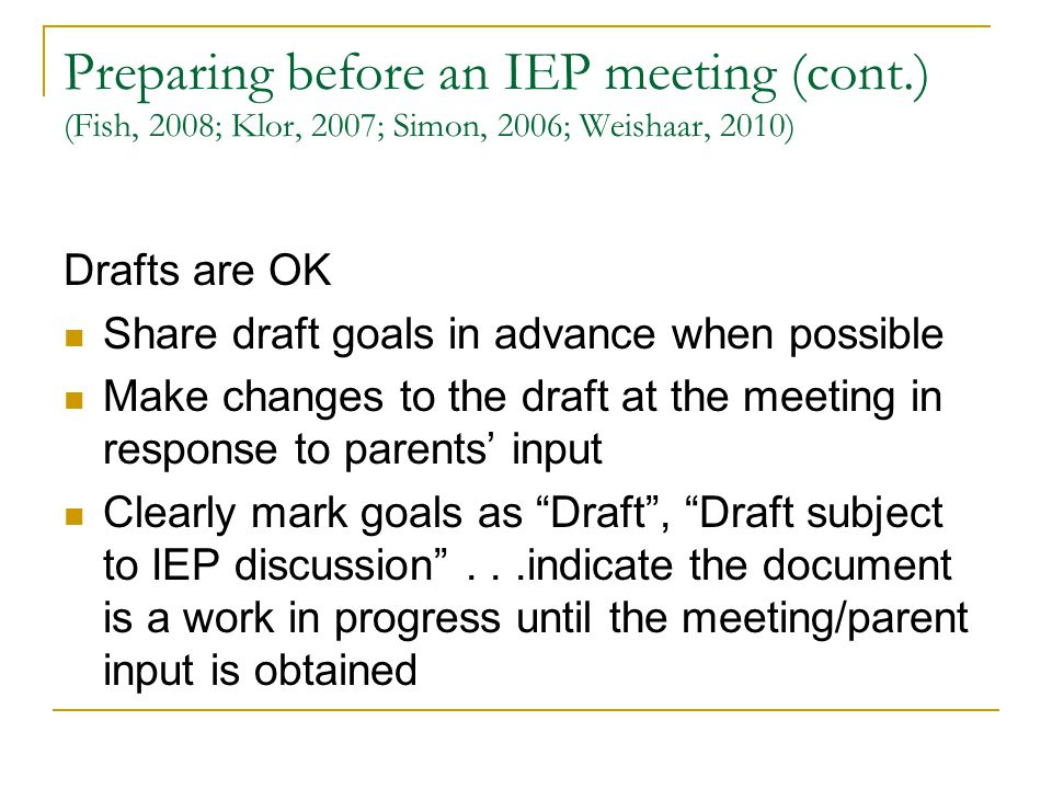 Preparing before an IEP meeting (cont