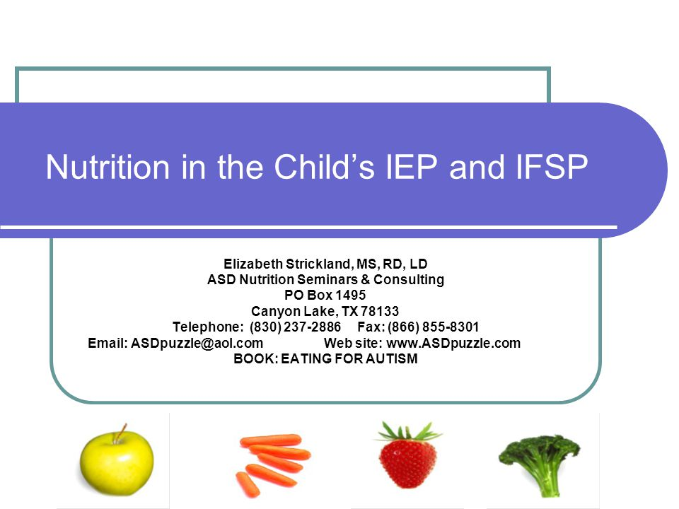 Nutrition in the Child's IEP and IFSP