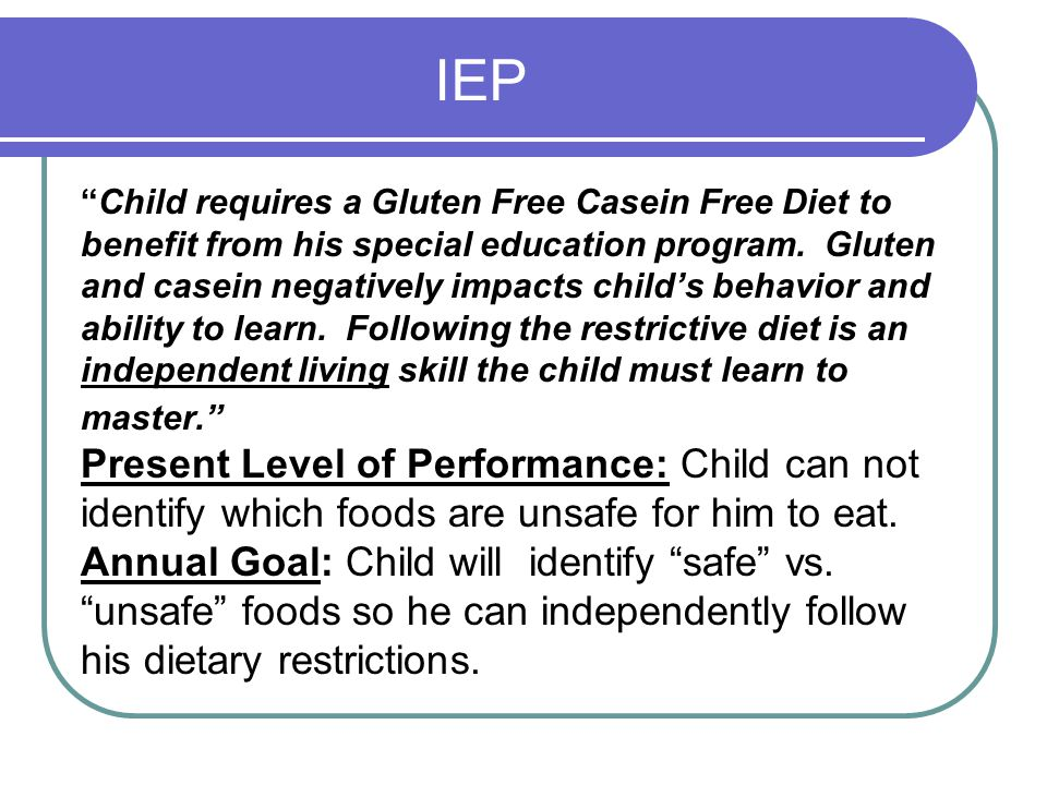IEP Present Level of Performance: Child can not
