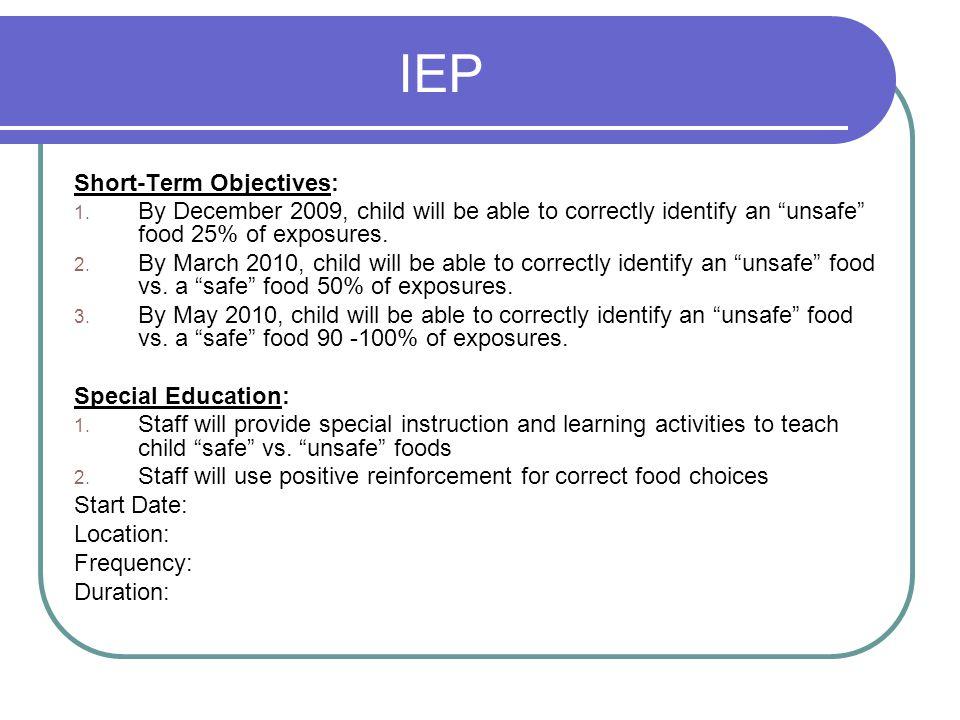 IEP Short-Term Objectives: