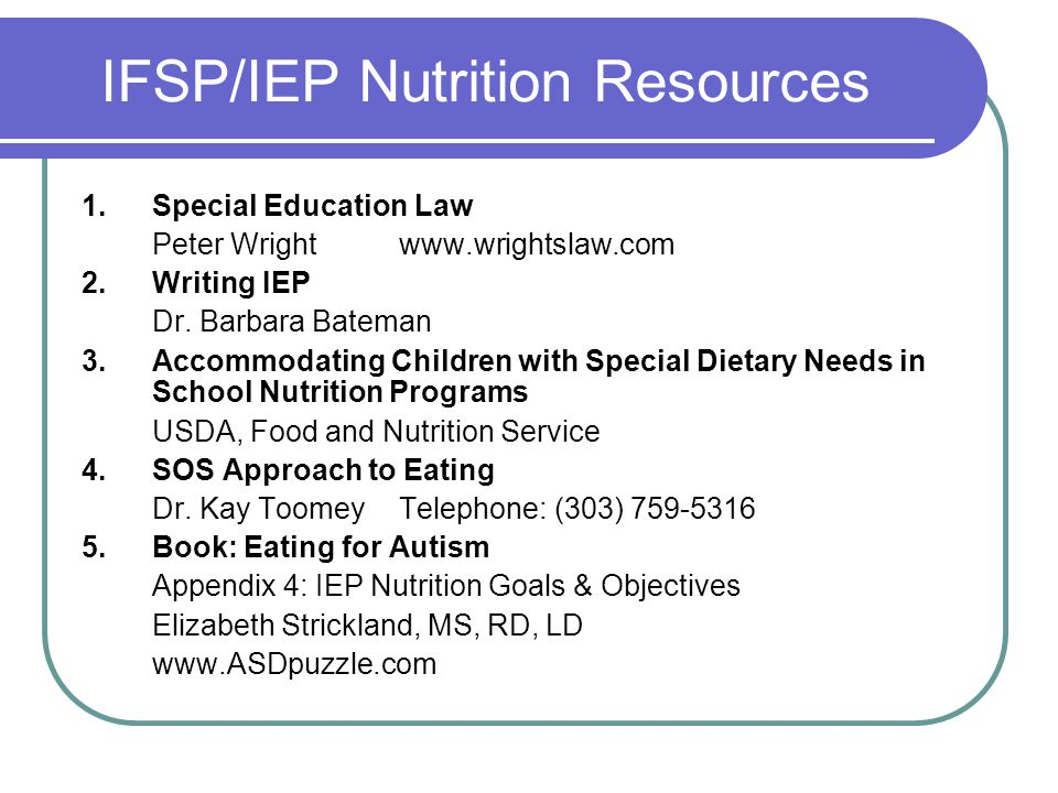 IFSP/IEP Nutrition Resources