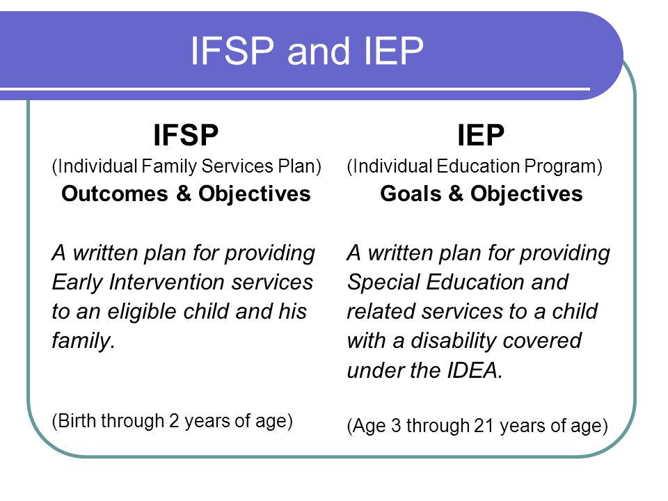 IFSP and IEP IFSP IEP Outcomes & Objectives