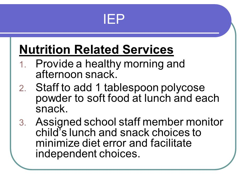 IEP Nutrition Related Services