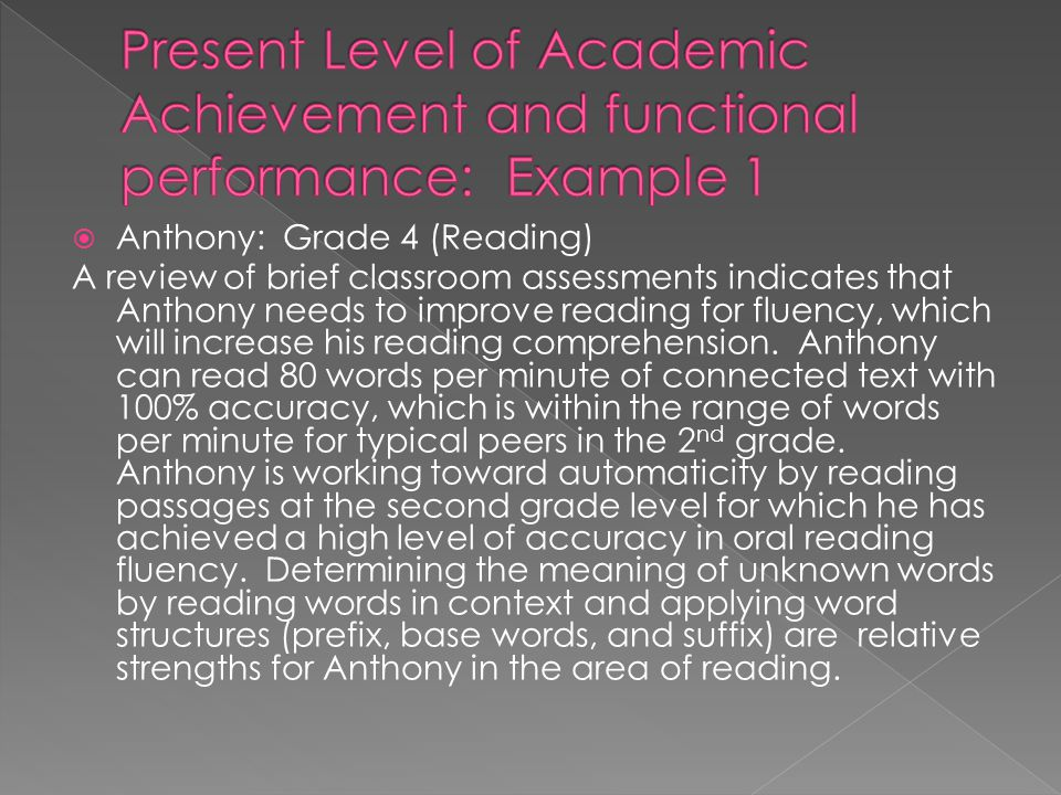 Present Level of Academic Achievement and functional performance: Example 1