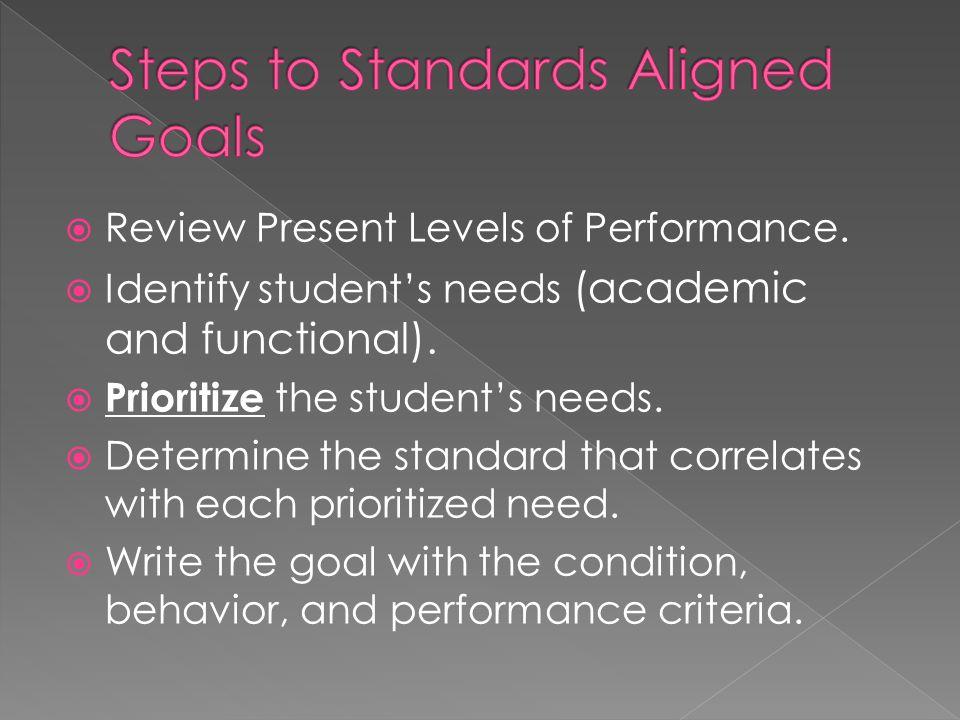 Steps to Standards Aligned Goals