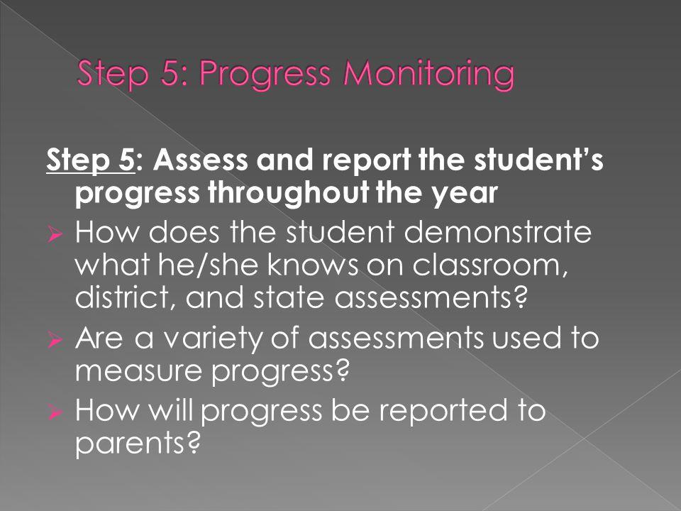 Step 5: Progress Monitoring