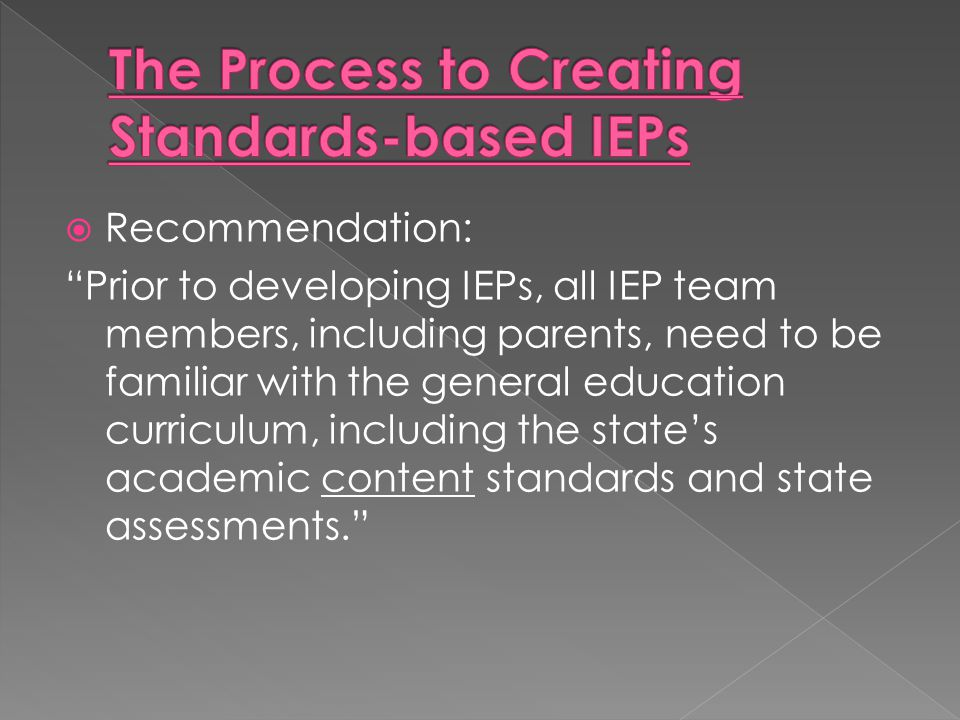 The Process to Creating Standards-based IEPs