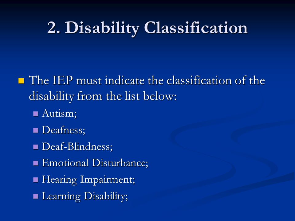 2. Disability Classification