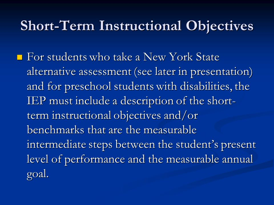Short-Term Instructional Objectives