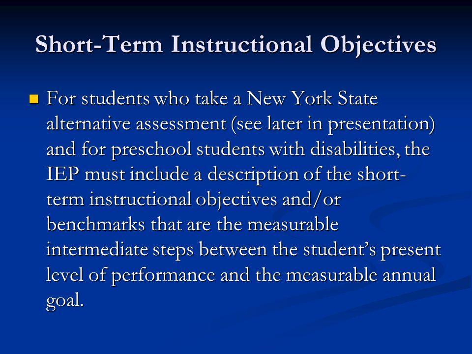 Short-Term Instructional Objectives