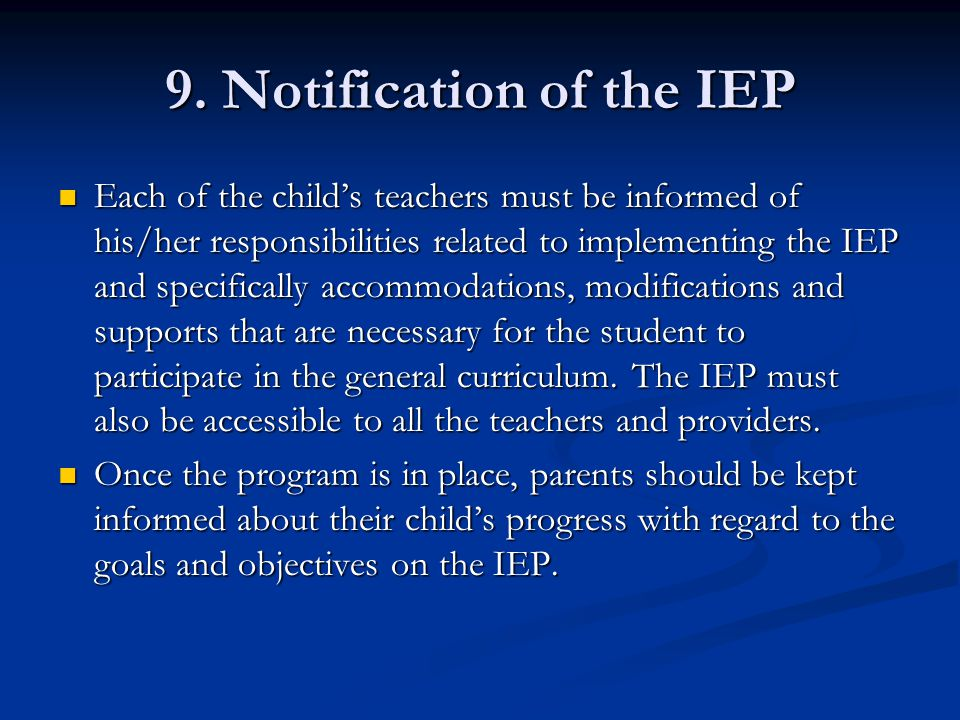 9. Notification of the IEP