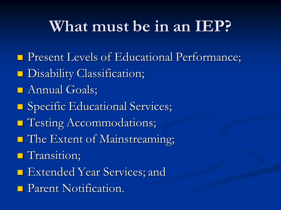 What must be in an IEP Present Levels of Educational Performance;