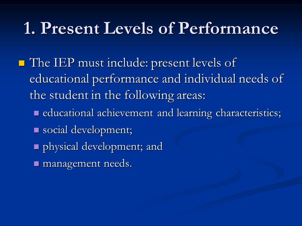 1. Present Levels of Performance