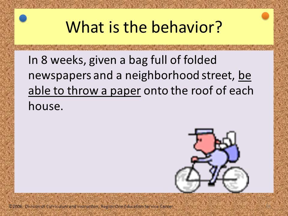TEKS Based IEP 10/16/06. What is the behavior