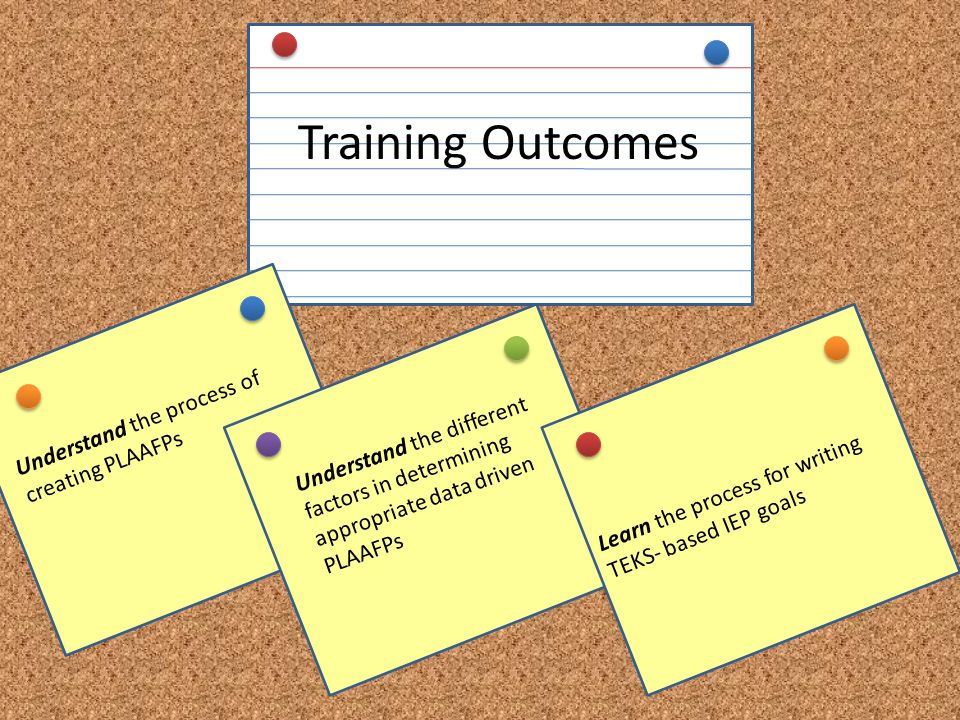 Training Outcomes Understand the process of creating PLAAFPs
