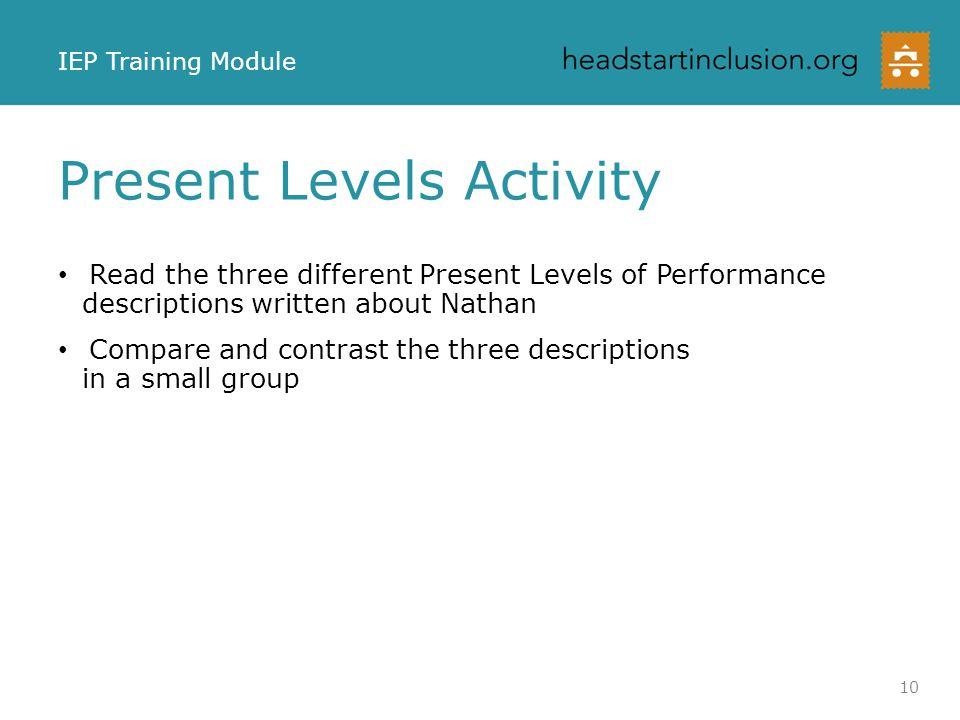 Present Levels Activity