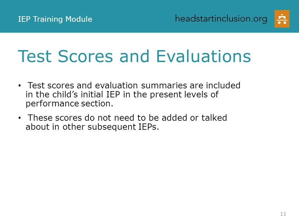 Test Scores and Evaluations