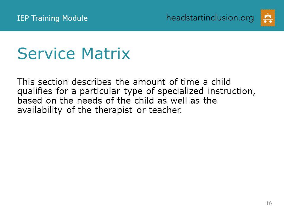 IEP Training Module Service Matrix.