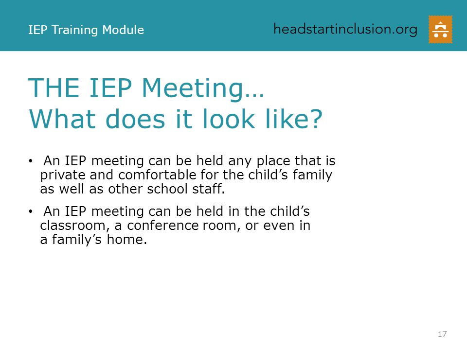 THE IEP Meeting… What does it look like