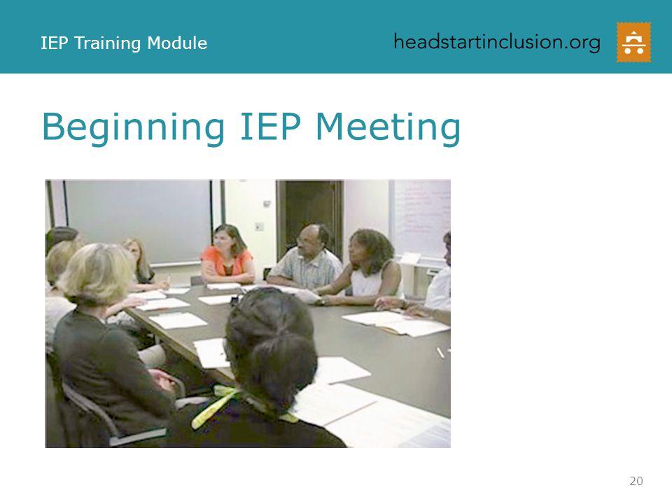 Beginning IEP Meeting IEP Training Module