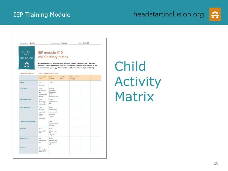 Child Activity Matrix IEP Training Module