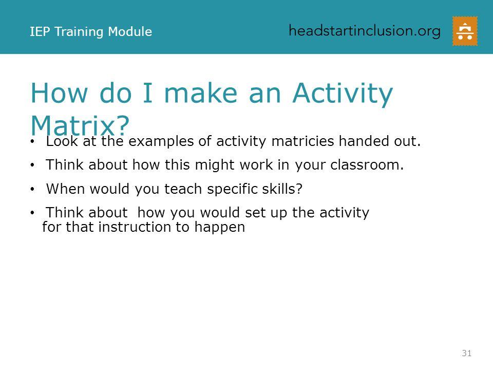 How do I make an Activity Matrix