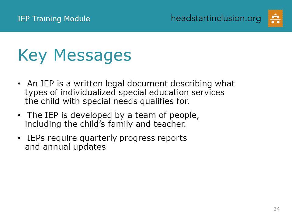 IEP Training Module Key Messages.