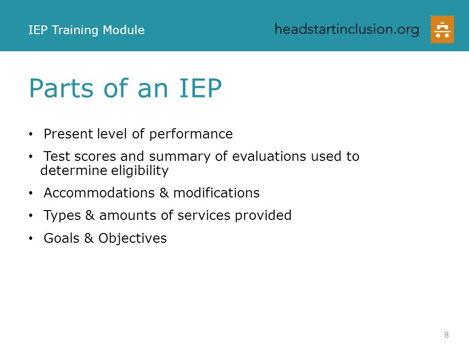 Parts of an IEP Present level of performance