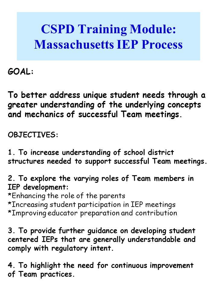 CSPD Training Module: Massachusetts IEP Process