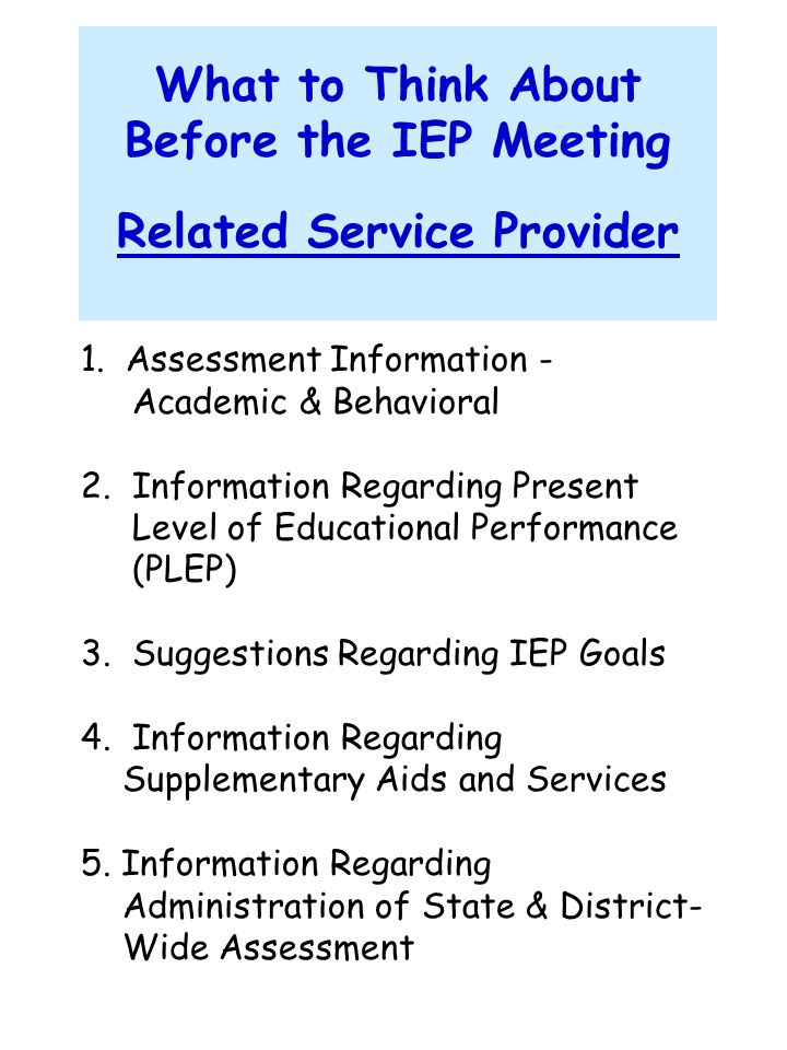 What to Think About Before the IEP Meeting Related Service Provider