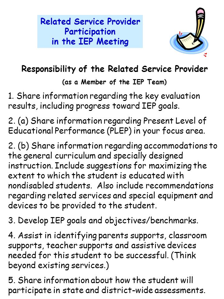 Related Service Provider Participation in the IEP Meeting