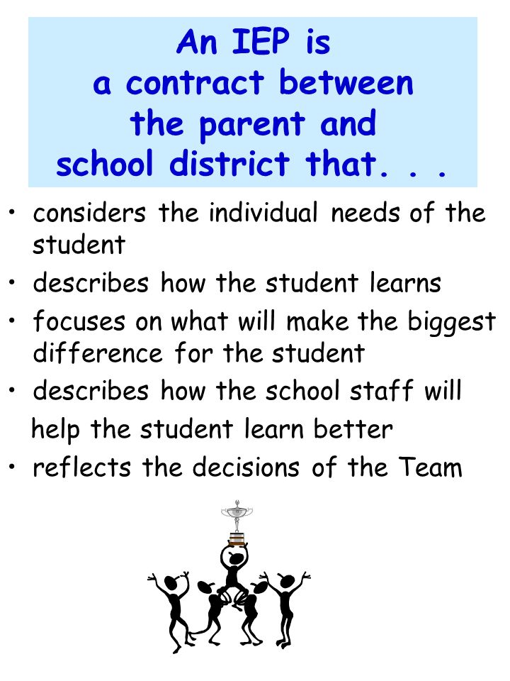 An IEP is a contract between the parent and school district that. . .