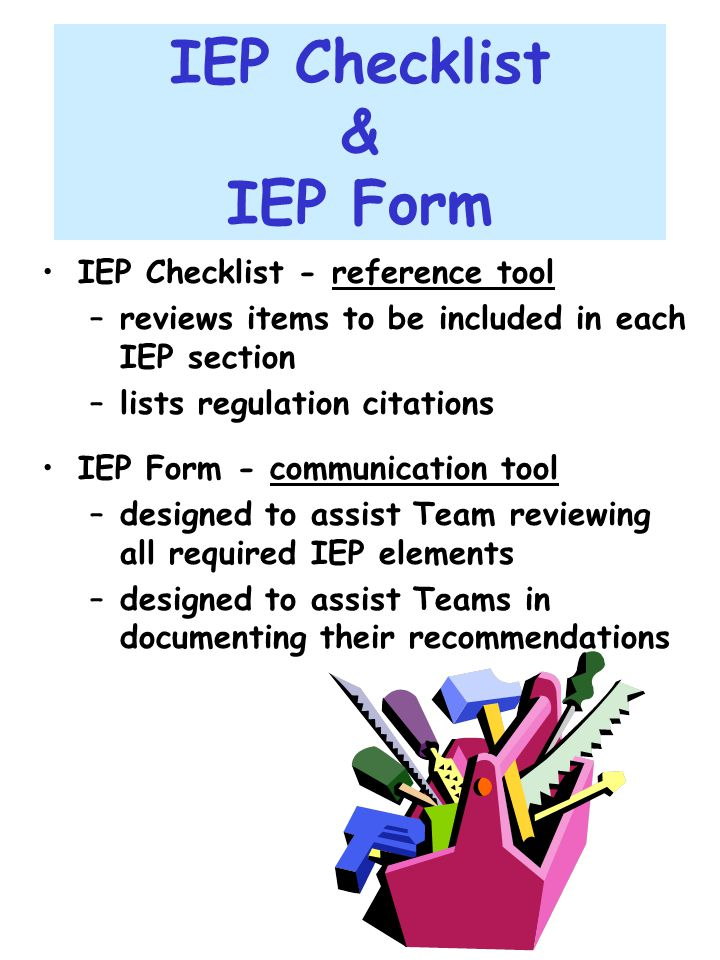 IEP Checklist & IEP Form
