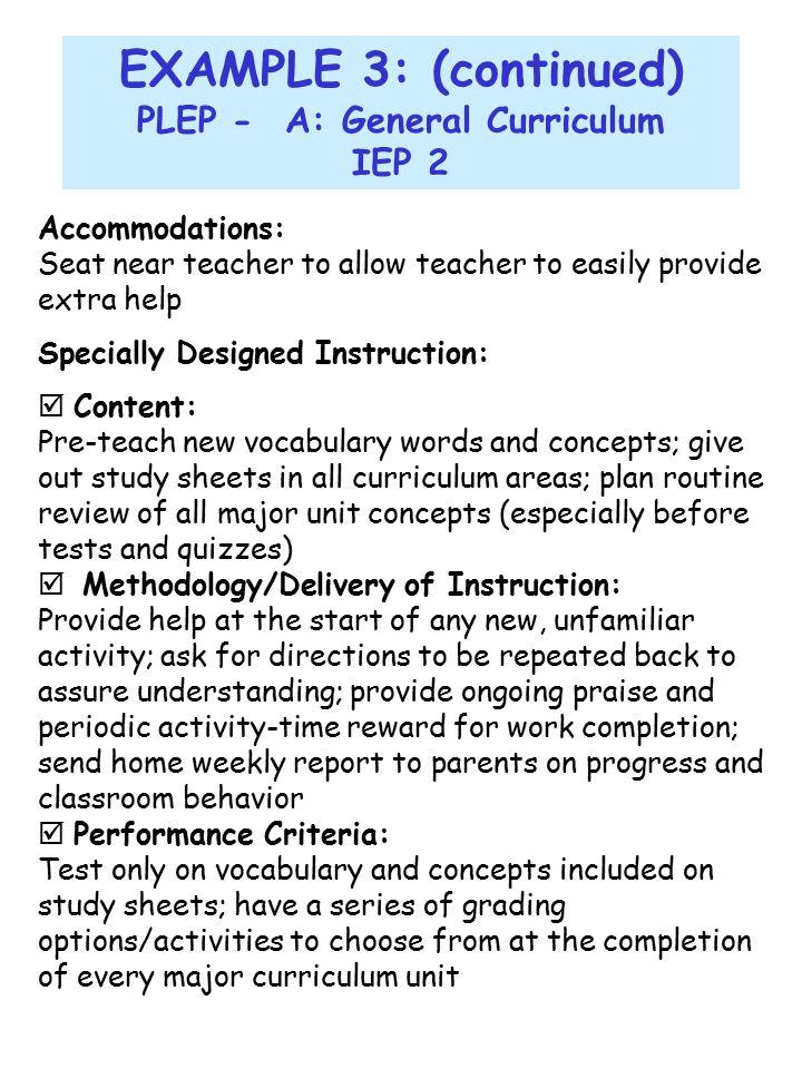 PLEP - A: General Curriculum