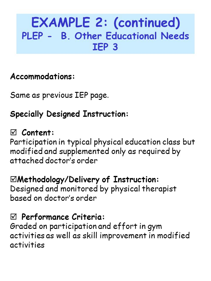 PLEP - B. Other Educational Needs
