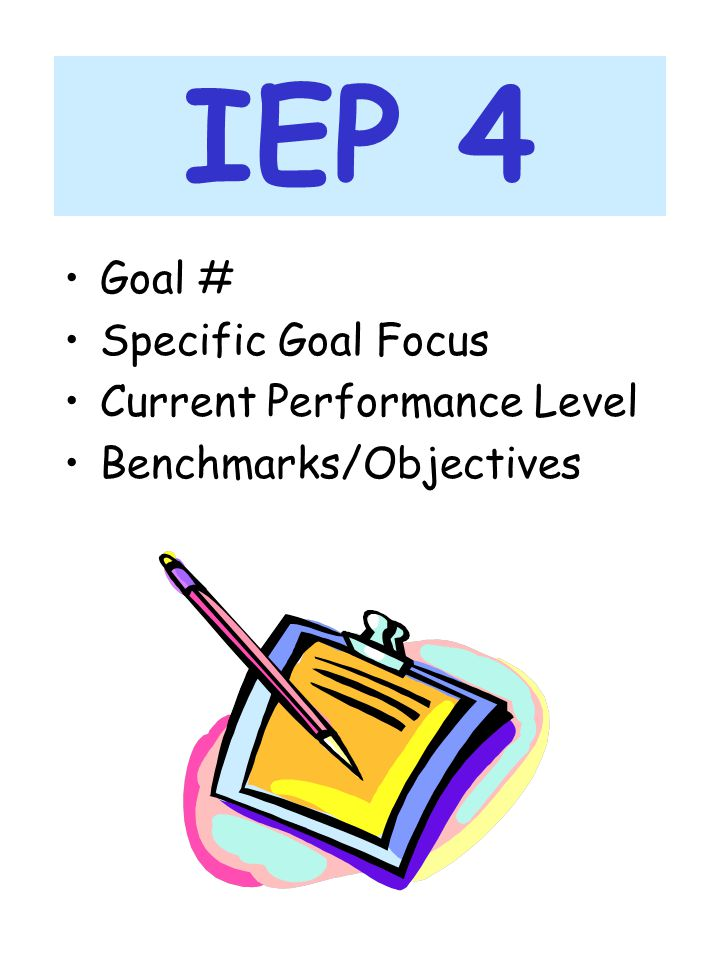 IEP 4 Goal # Specific Goal Focus Current Performance Level